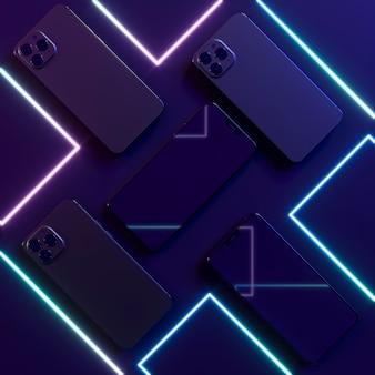 Неоновые линии и смартфоны