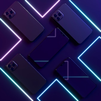 Neon lines and smartphones