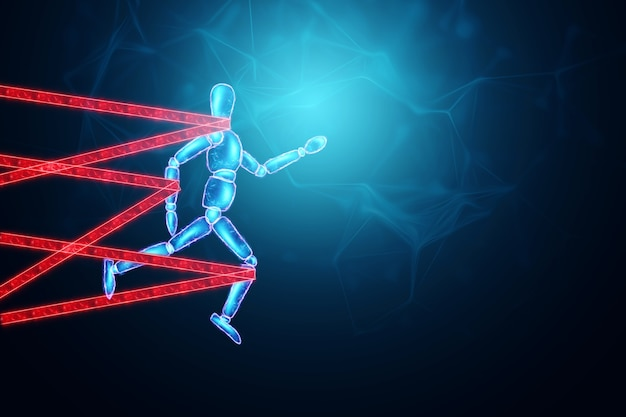 The neon marionette tied over the legs and arms fights and resists. business difficulty or struggle with career obstacle concept, bureaucracy, 3d illustration, 3d render.