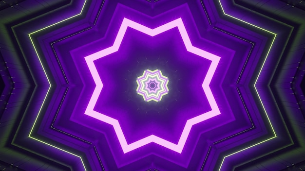 Neon multicolored star shaped figures forming optical illusion effect of fantastic tunnel perspective as abstract geometric background design in 4k uhd 3d illustration