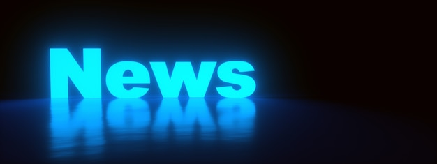 Neon news inscription over dark background, panoramic image, 3d rendering