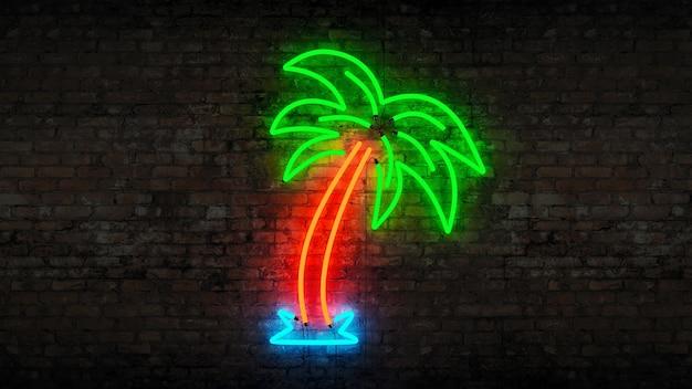 Neon palm tree 3d rendering