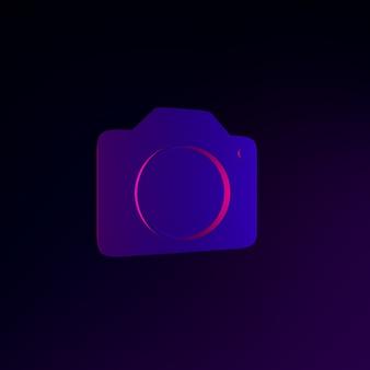 평면 스타일에 네온 사진 카메라 아이콘입니다. 3d 렌더링 ui ux 인터페이스 요소입니다. 어두운 빛나는 기호.