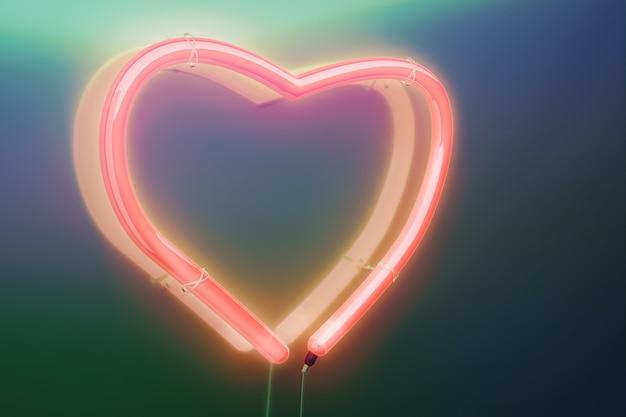 Эффект свечения неонового розового сердца. концепция любви, день святого валентина. 3d визуализация