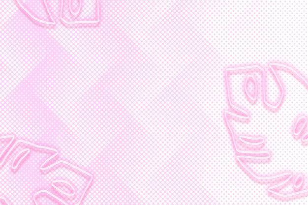 Неоновый розовый лист монстера на фоне с полутоновым рисунком