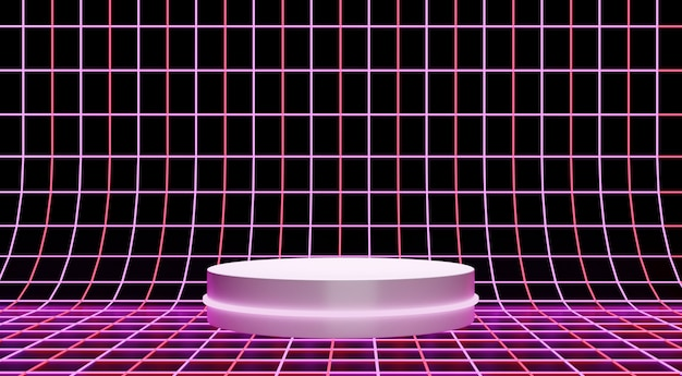Neon pink podium for product showcase, simple retro style background