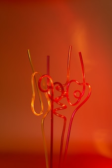 Neon plastic tubes. modern and trendy version of eco concept.