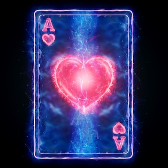 Neon playing card ace of hearts for poker, on a black background isolate. design template. casino concept, gambling, header for the site. copy space, 3d illustration, 3d render.