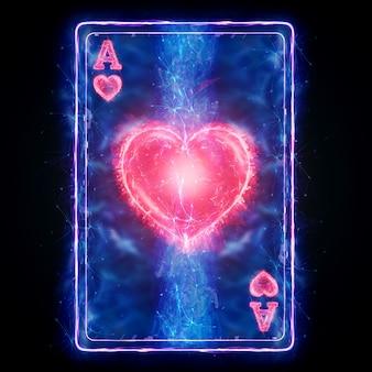 Неоновые игральные карты туз червей для покера, на черном фоне изолировать. шаблон оформления. концепция казино, азартные игры, заголовок для сайта. копирование пространства, 3d иллюстрации, 3d визуализация.