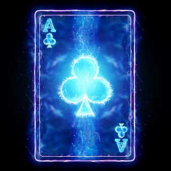 Неоновая игральная карта для покера ace club на черном фоне изолировать. шаблон оформления. концепция казино, азартные игры, заголовок для сайта. копирование пространства, 3d иллюстрации, 3d визуализация.