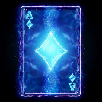 Неоновая игральная карта для покера туз алмаз на черном фоне изолировать. шаблон оформления. концепция казино, азартные игры, заголовок для сайта. копирование пространства, 3d иллюстрации, 3d визуализация.