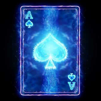 Неоновая игральная карта для покера ace spade на черном фоне изолировать. шаблон оформления. концепция казино, азартные игры, заголовок для сайта. копирование пространства, 3d иллюстрации, 3d визуализация.