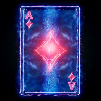 Neon playing card for poker ace diamond on a black background isolate. design template. casino concept, gambling, header for the site. copy space, 3d illustration, 3d render.