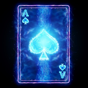 Neon playing card for poker ace spade on a black background isolate. design template. casino concept, gambling, header for the site. copy space, 3d illustration, 3d render.