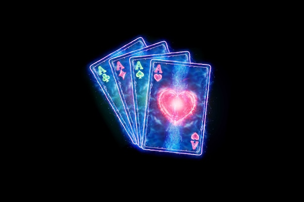 Неоновые игральные карты для покера, четыре туза на темном фоне. шаблон оформления. концепция казино, азартные игры, заголовок для сайта. копирование пространства, 3d иллюстрации, 3d визуализация.