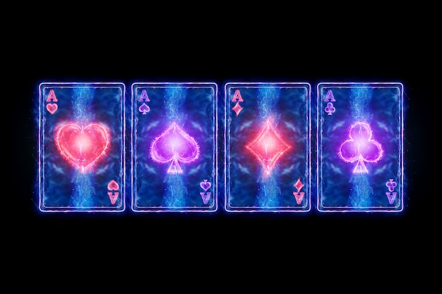 Neon playing cards for poker, four aces on a dark background. design template. casino concept, gambling, header for the site. copy space, 3d illustration, 3d render.
