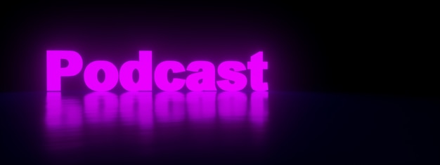Neon podcast inscription over purple background, panoramic image, 3d rendering