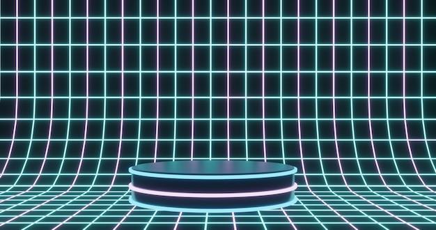 Neon podium on digital wireframe surface background