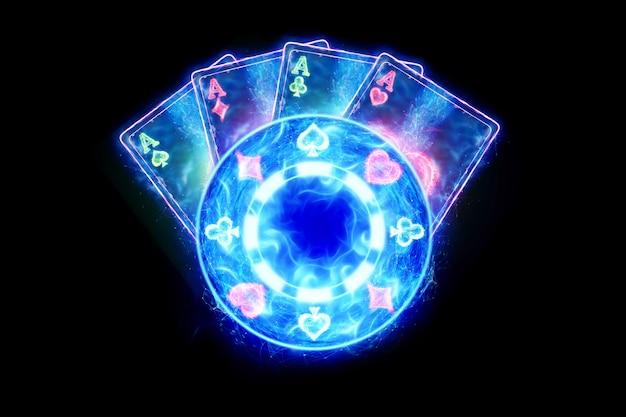네온 포커 칩 및 카드, 홀로그램 카지노 제품. 승리, 카지노 광고 템플릿, 도박, 라스베가스 게임, 베팅. 3d 그림, 3d 렌더링.
