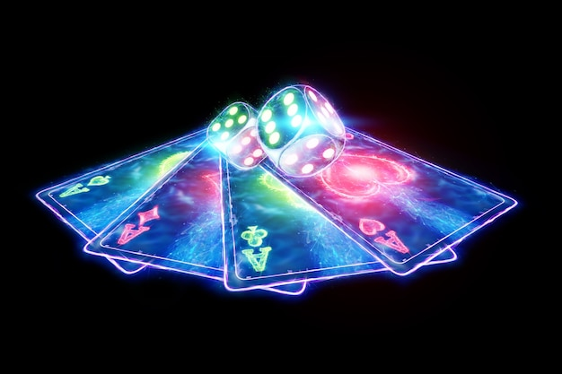 Neon poker chips and cards, hologram casino products. winning, casino advertising template, gambling, vegas games, betting. 3d illustration, 3d render.