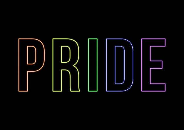 Neon pride day text. graphic with black background and letters in fluor colors. pride flag