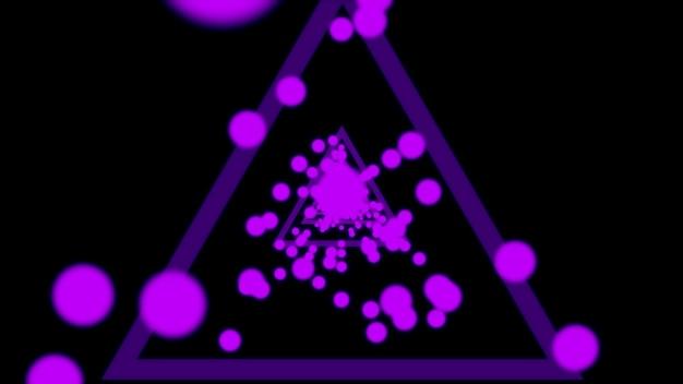 黒の背景にネオン紫の光線光線の抽象的な回廊3dレンダリング