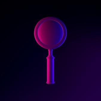 ネオンのリアルな虫眼鏡アイコン。 3dレンダリングuiuxインターフェイス要素。暗く光るシンボル。