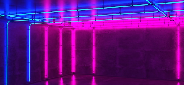 Neon room, concrete wall and floor, glowing neon tubes light, background, 3d render