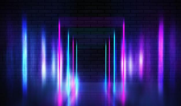 Neon shapes on a dark brick wall. ultraviolet lighting. brick wall, concrete floor. 3d illustration