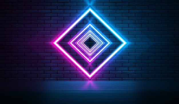 Неоновые формы на темной кирпичной стене. ультрафиолетовое освещение. кирпичная стена, бетонный пол. 3d иллюстрация