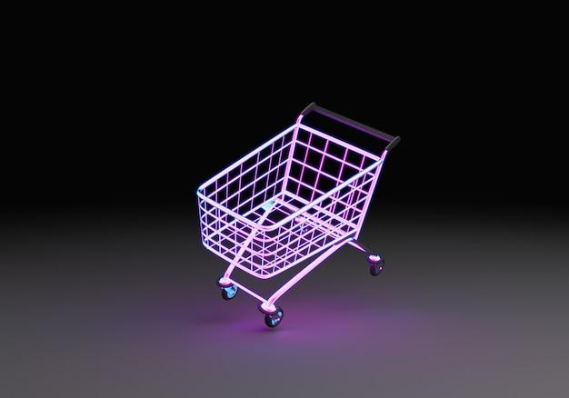 네온 쇼핑 카트 떠