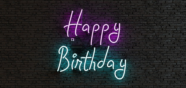 Neon sign with the phrase happy birthday on a dark background