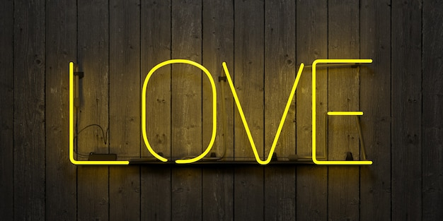 Neon sign with the word