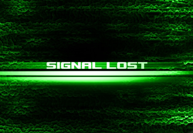 Неоновый фон иллюстрации надписи «сигнал потерян»