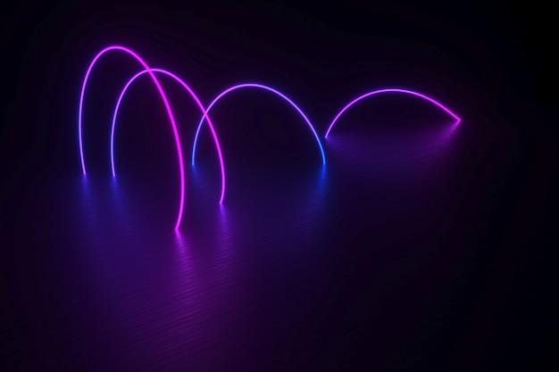 Неоновая спираль, лежащая на блестящей черной поверхности