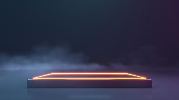 煙の壁のあるネオンステージ。 3dレンダリング