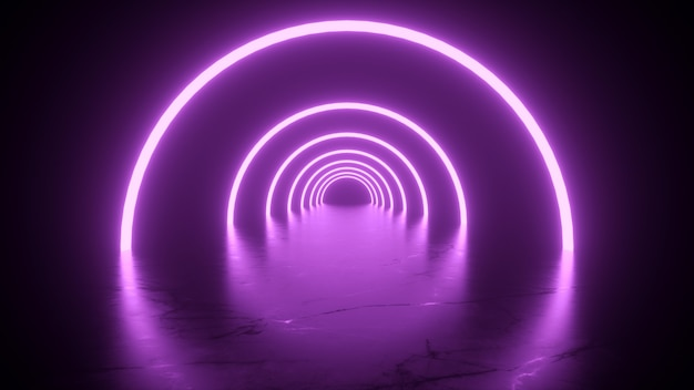 Neon tunnel in pink color reflections on the floor  3d rendering