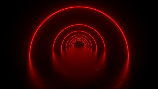Neon tunnel in red reflections on the floor  3d rendering