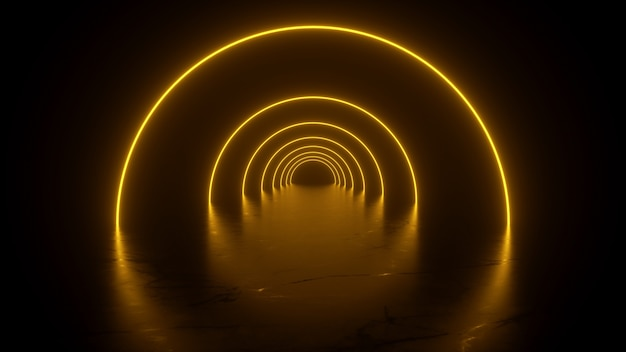 Neon tunnel in yellow reflections on the floor  3d renderin