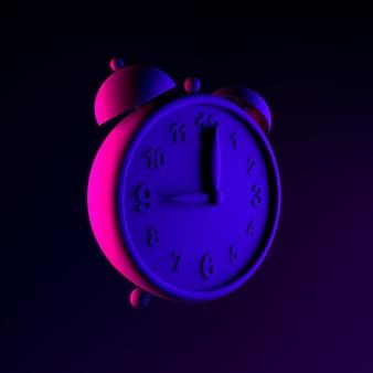 Neon vintage alarm clock icon. 3d rendering ui ux interface element. dark glowing symbol.