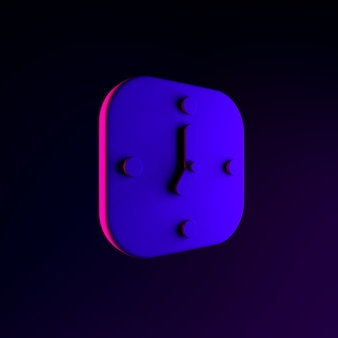 Neon wall square clock icon. 3d rendering ui ux interface element. dark glowing symbol.