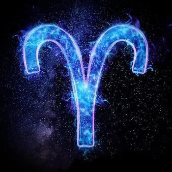 Неоновый знак зодиака овен по астрологическому гороскопу