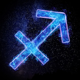 Неоновый знак зодиака стрелец по астрологическому гороскопу