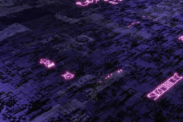 미래 회로 기판의 마더보드 시스템 칩 3d 배경의 neonglow 요소