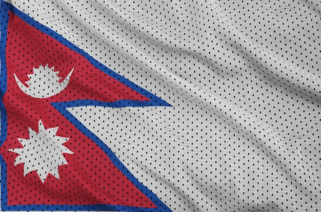 Nepal flag printed on a polyester nylon sportswear mesh fabric
