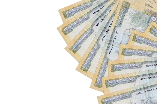 Nepalese rupees bills lies isolated on white background