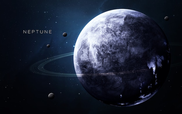 Neptune in the space, 3d illustration. .