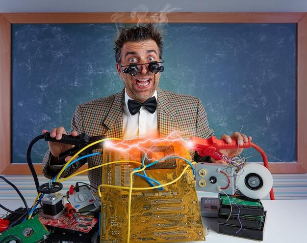 Nerd electronics technician short circuit lightning