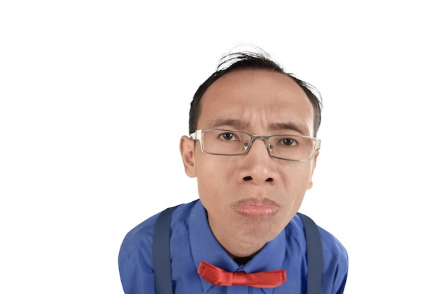 Nerdy and crazy man confused expresion