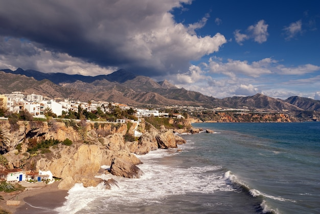 Nerja cliffs on a cloudy day